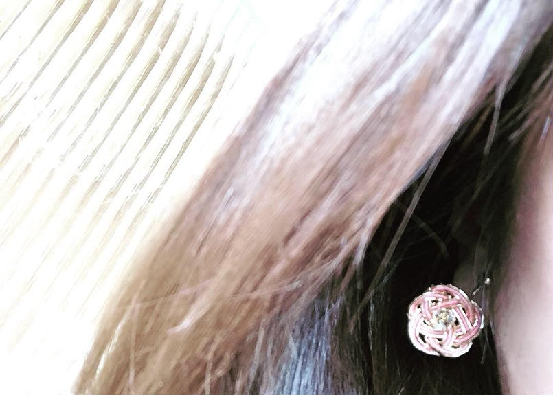 水引お花イヤリング・ピアス(ピンク✖︎ゴールド)
