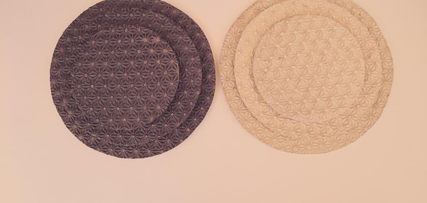 麻模様の陶板 L