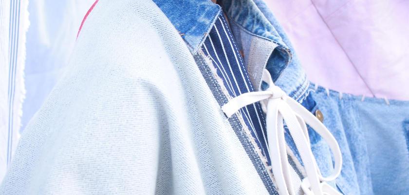 青く色っぽい彼女のデニム・リボンビッグジャケット