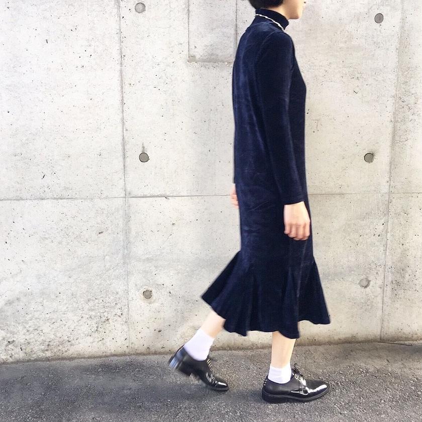 corduroy long dress NAVY
