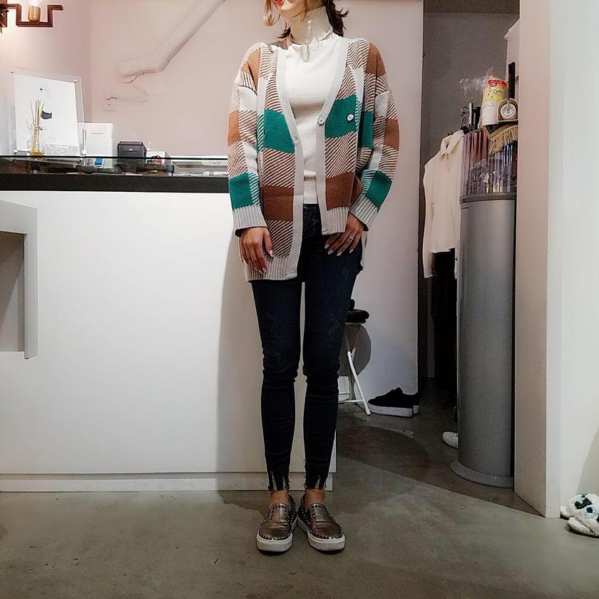 asymmetry block check  cardigan
