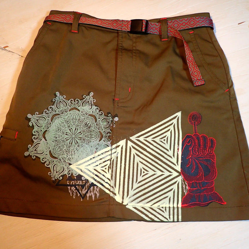 USED  SKIRT  SILKSCREEN PRINT(HADOU)  スカート