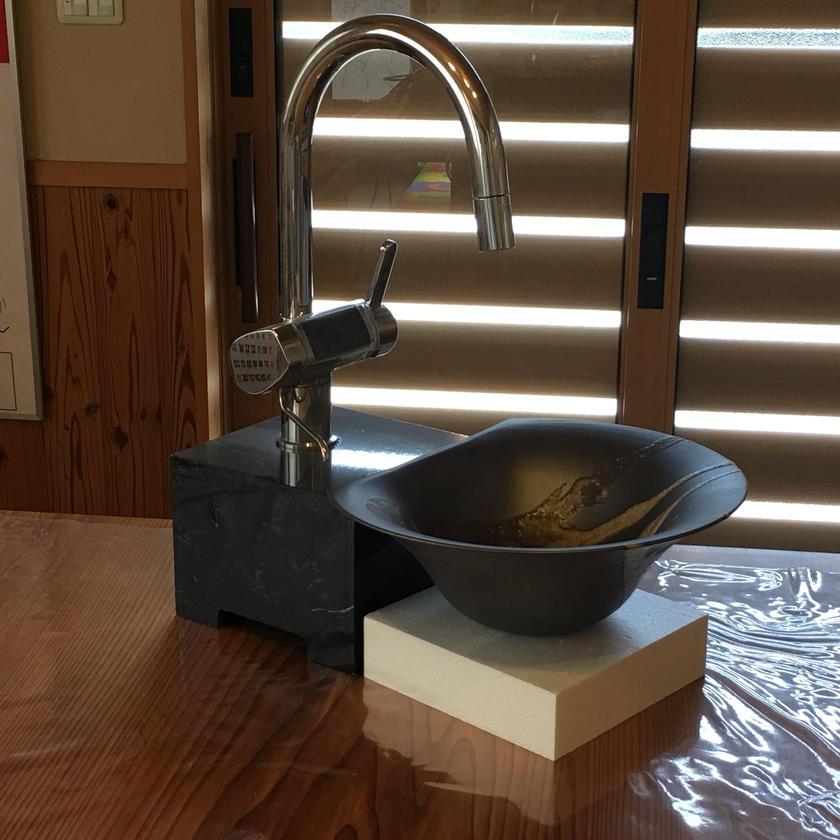 信楽焼き 手洗い鉢 白砂流し