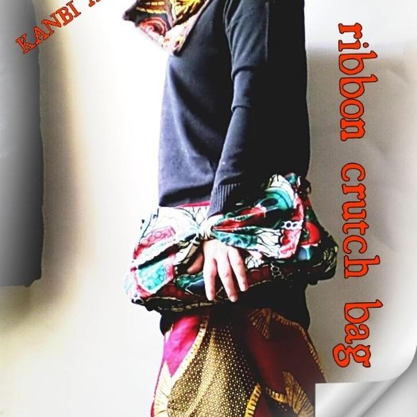 no5  アフリカ布ribbon crutch bag ♪