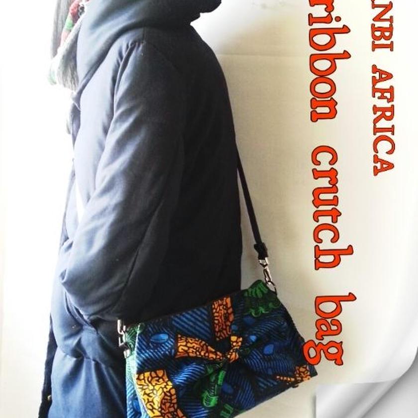 no1  アフリカ布ribbon crutch bag ♪
