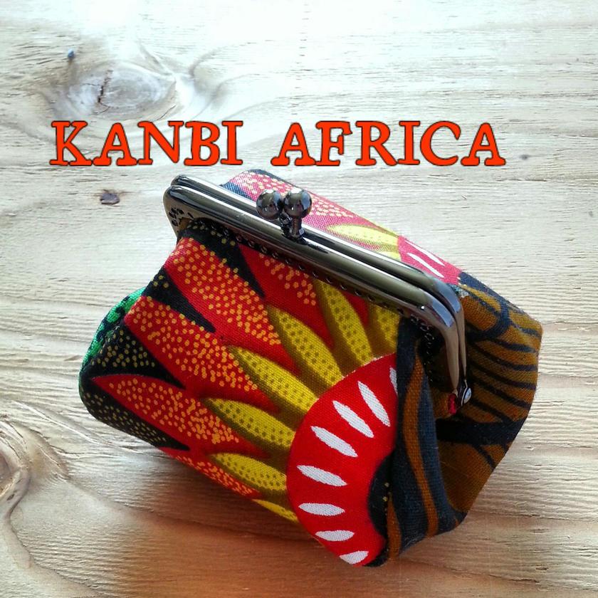 アフリカ布がま口コインケース♪