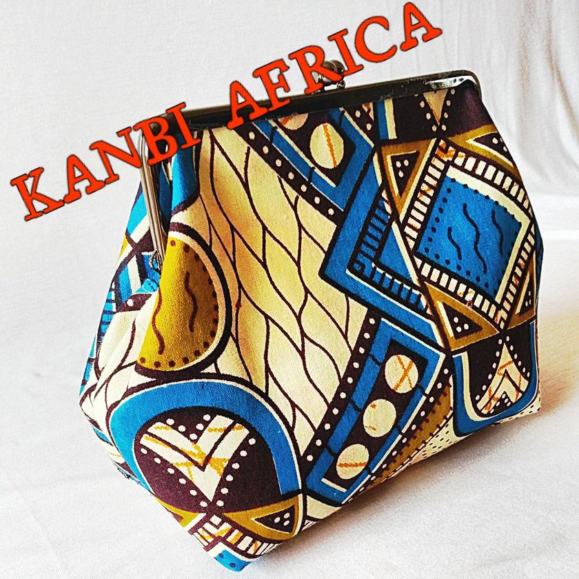 アフリカ布がま口ポーチ♪