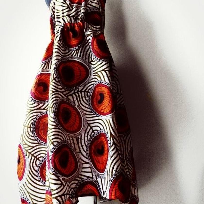 56   アフリカ布シャーリングワンピース