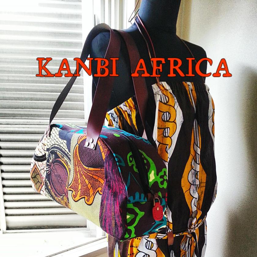 アフリカ布パッチワークカジュアルボストンバック♪