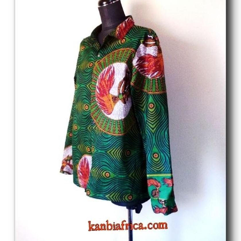 24   アフリカ布 シャープなレディースシャツ