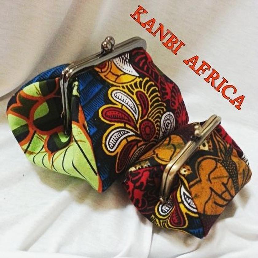 アフリカ布がま口ポーチ中サイズ♪