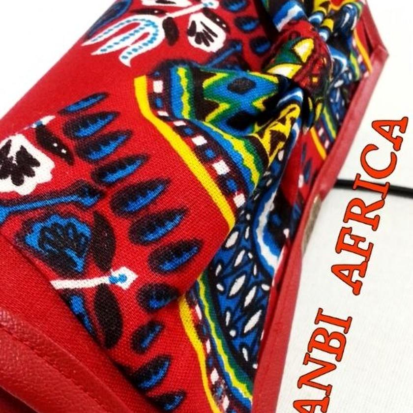 アフリカ布リボン長財布♪