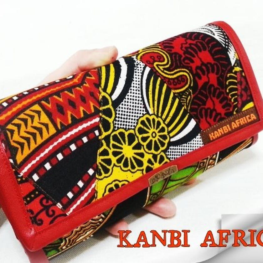 アフリカ布パッチワーク大容量長財布♪