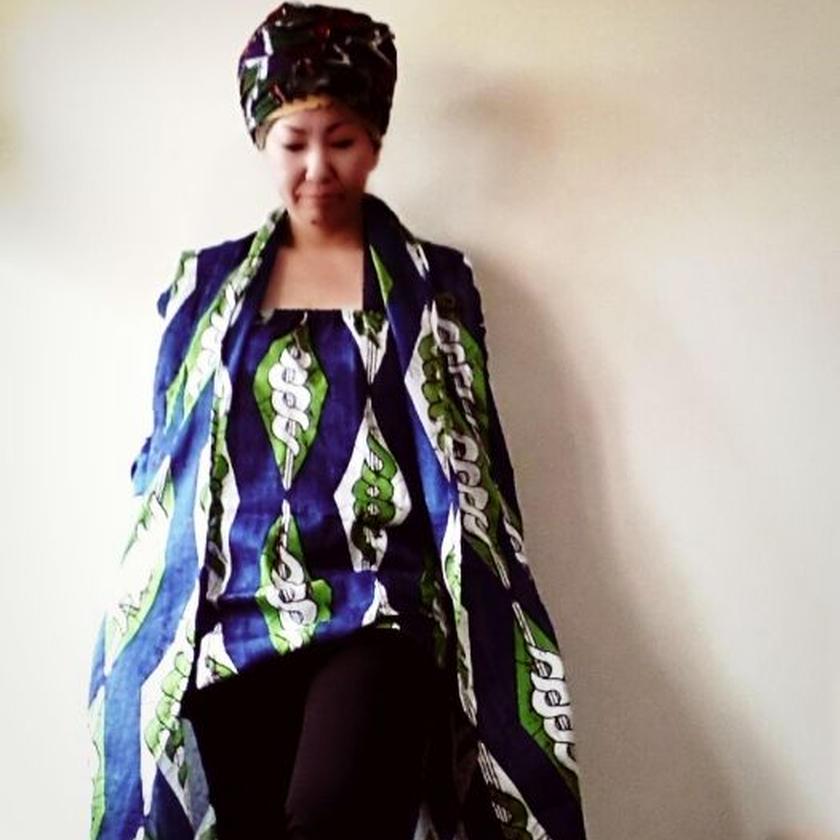 10 アフリカ布トレンチジャケット