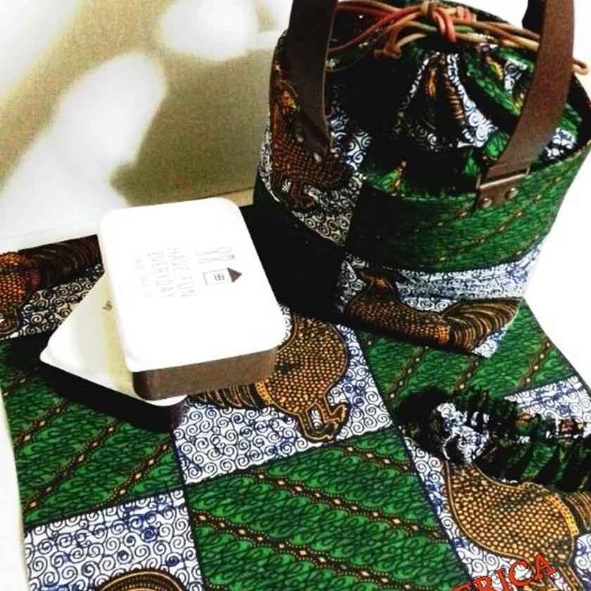 アフリカ布 Lunch  Tote  bag  Set♪