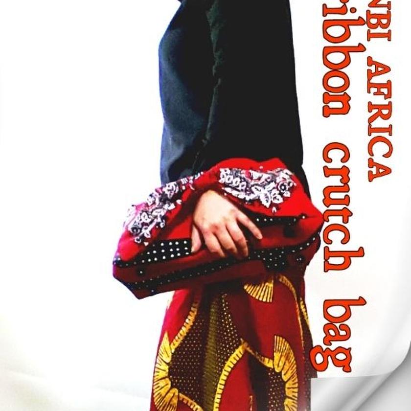 アフリカ布ribbon crutchbag ♪