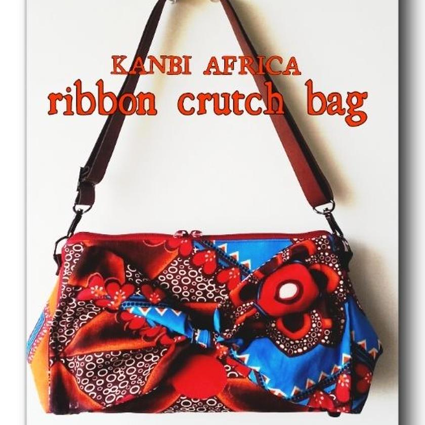 アフリカ布ribbon crutch bag ♪