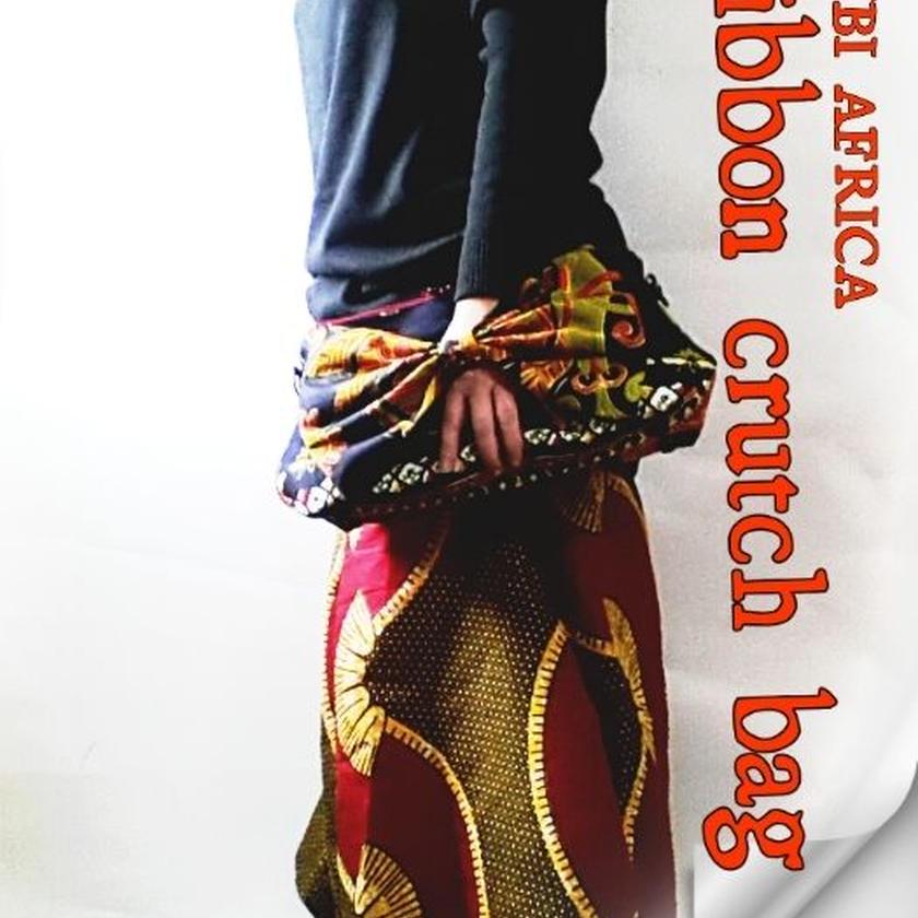 no2  アフリカ布ribbon crutch bag ♪