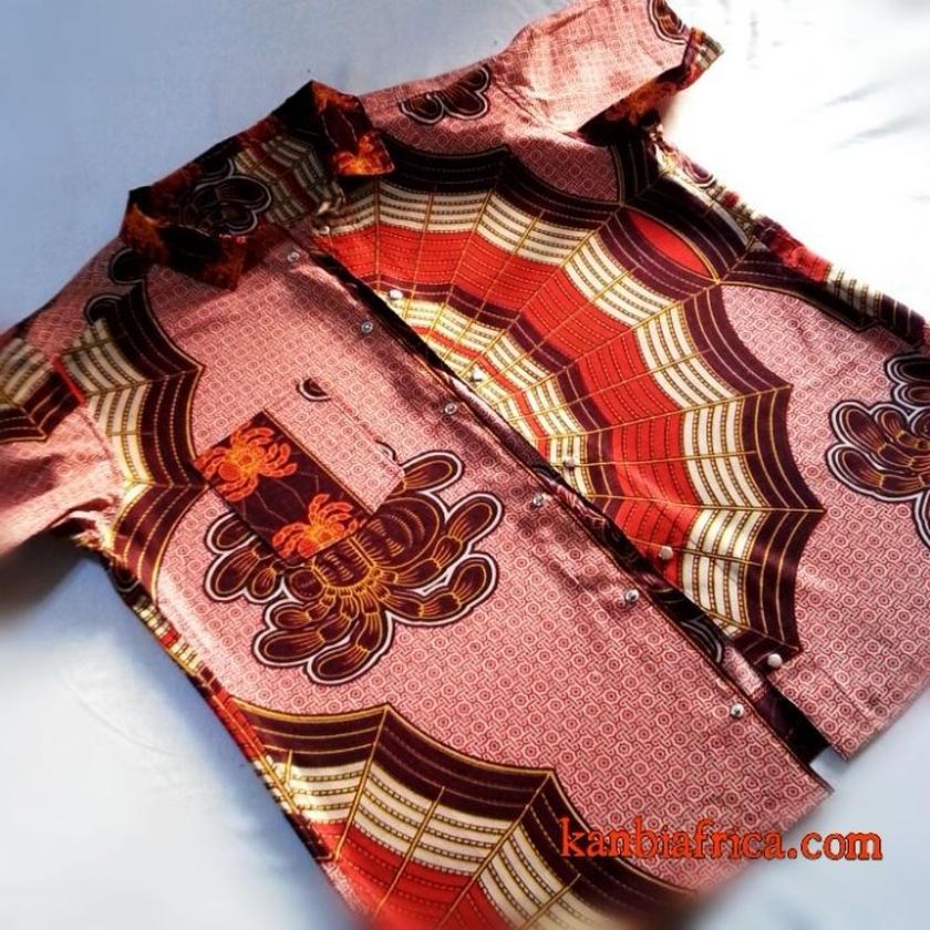 28   アフリカ布半袖シャツ☆
