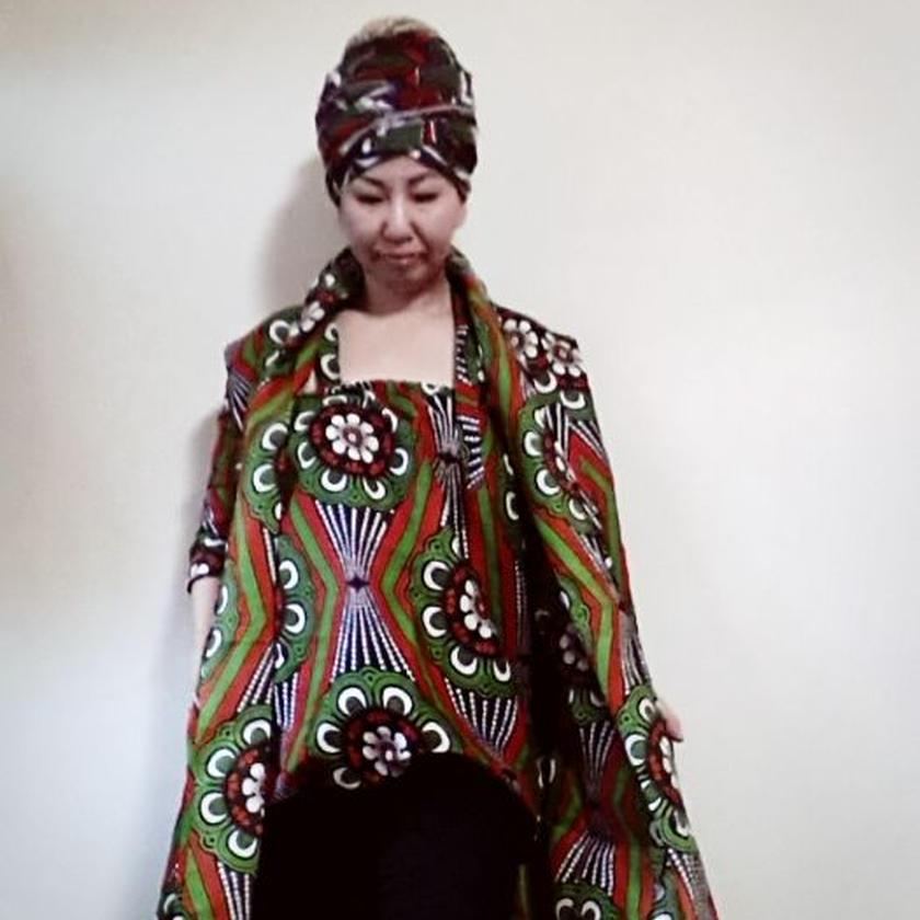 8 アフリカ布トレンチジャケット