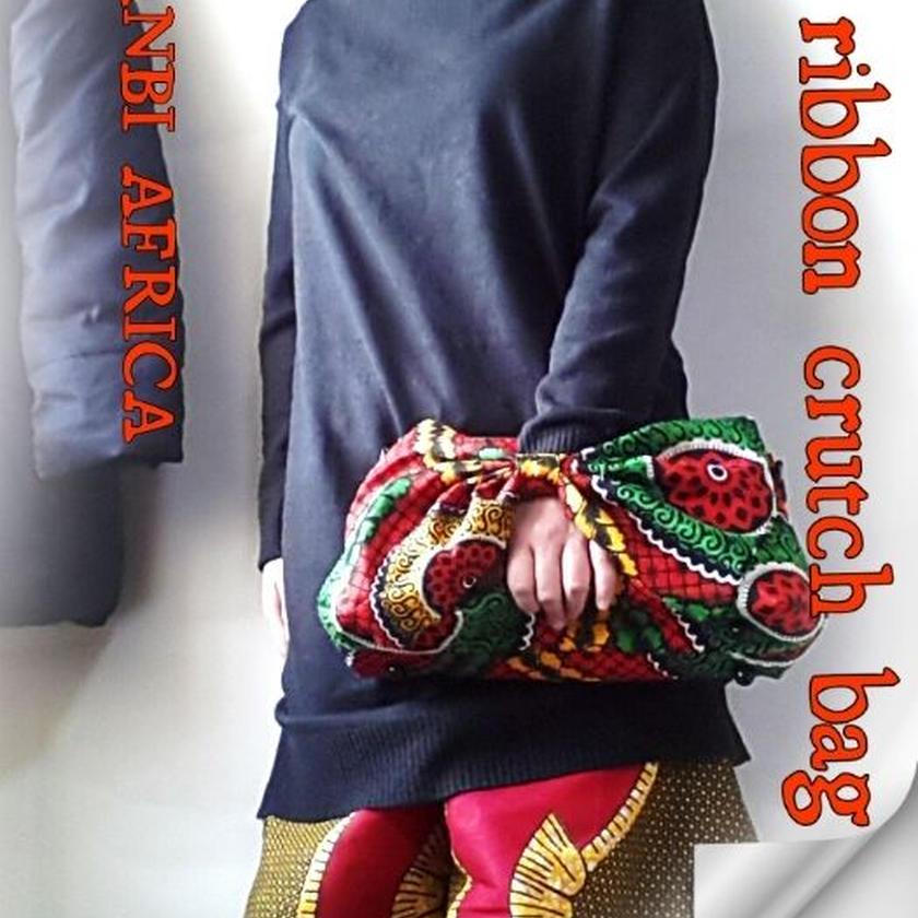no3  アフリカ布ribbon crutchbag ♪