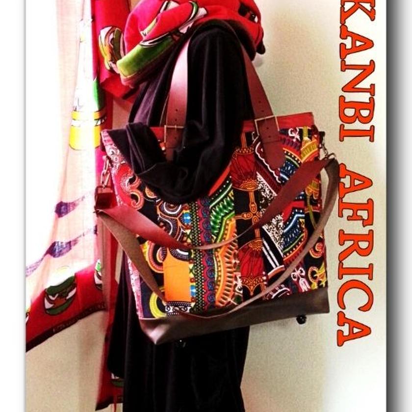 アフリカ布パッチワーク4waybag♪