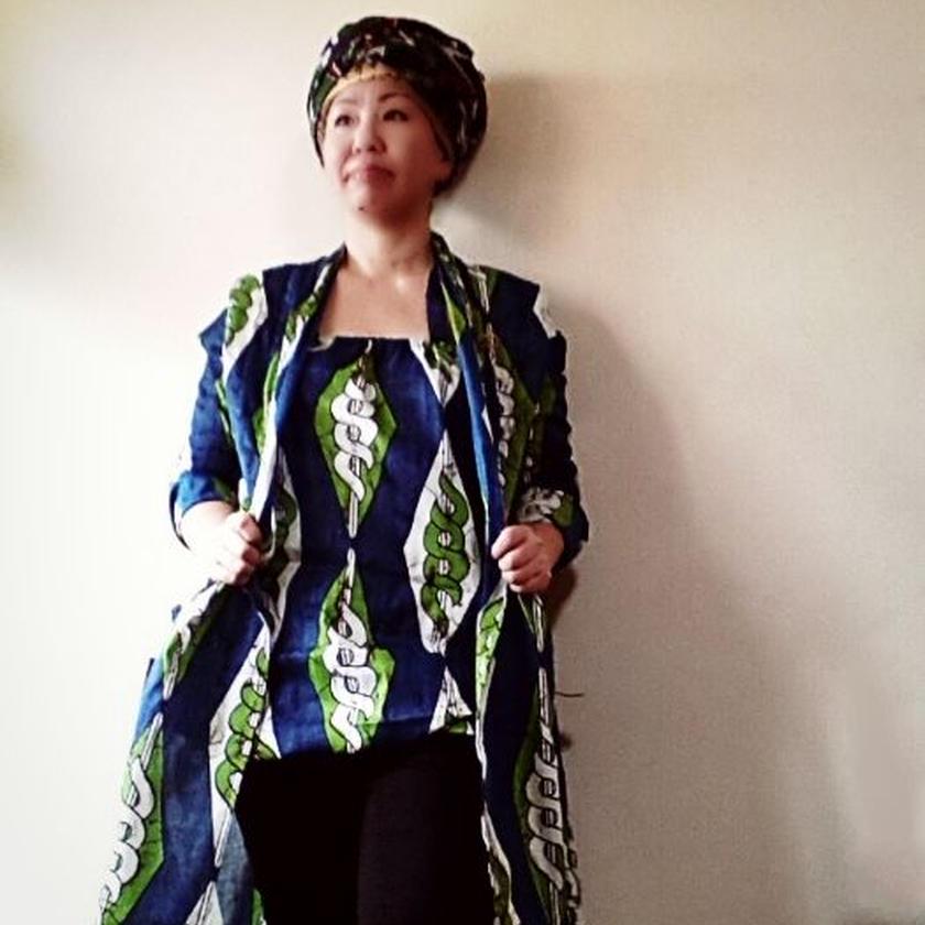 9 アフリカ布バルーンカットソー