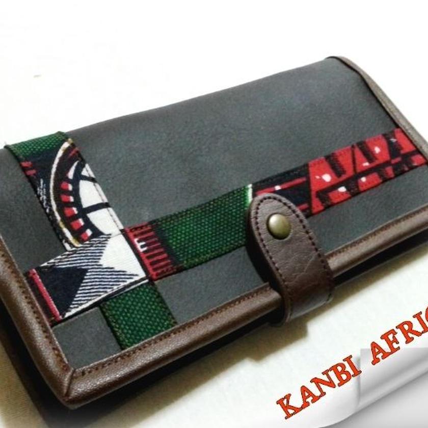 アフリカ布×革  長財布♪