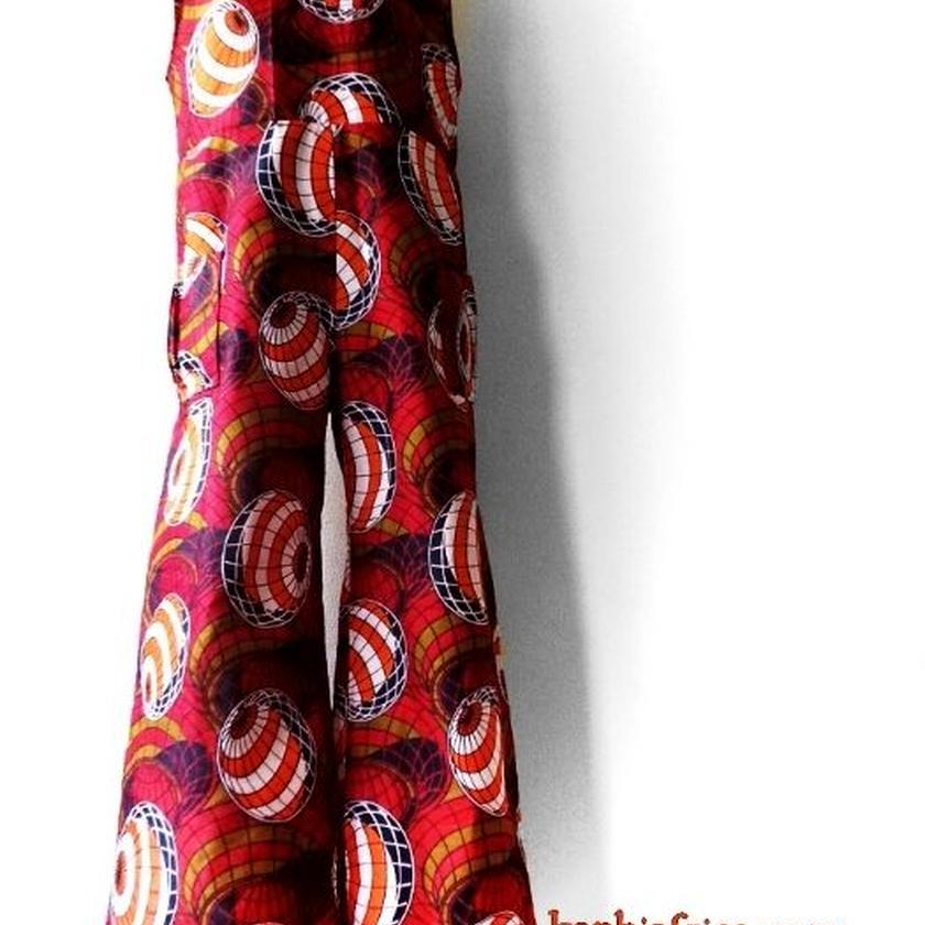 38  アフリカ布オールインワイドパンツ