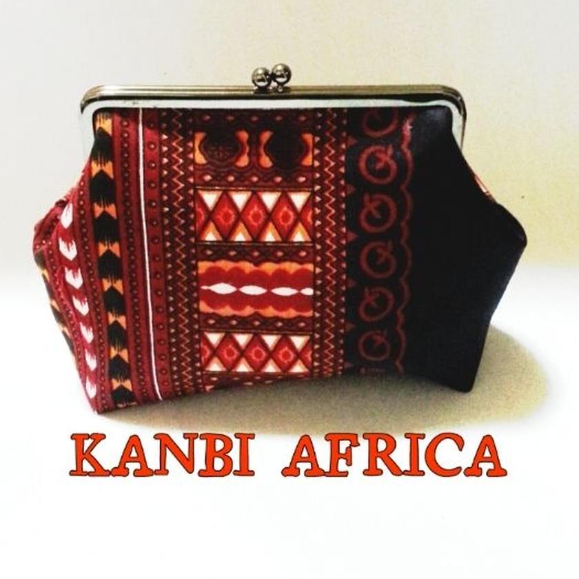 アフリカ布15cm口金大容量がま口ポーチ♪
