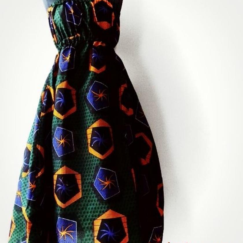 57   アフリカ布シャーリングワンピース