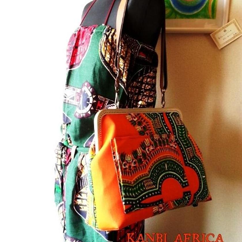 アフリカ布30cm口金 がま口バッグ