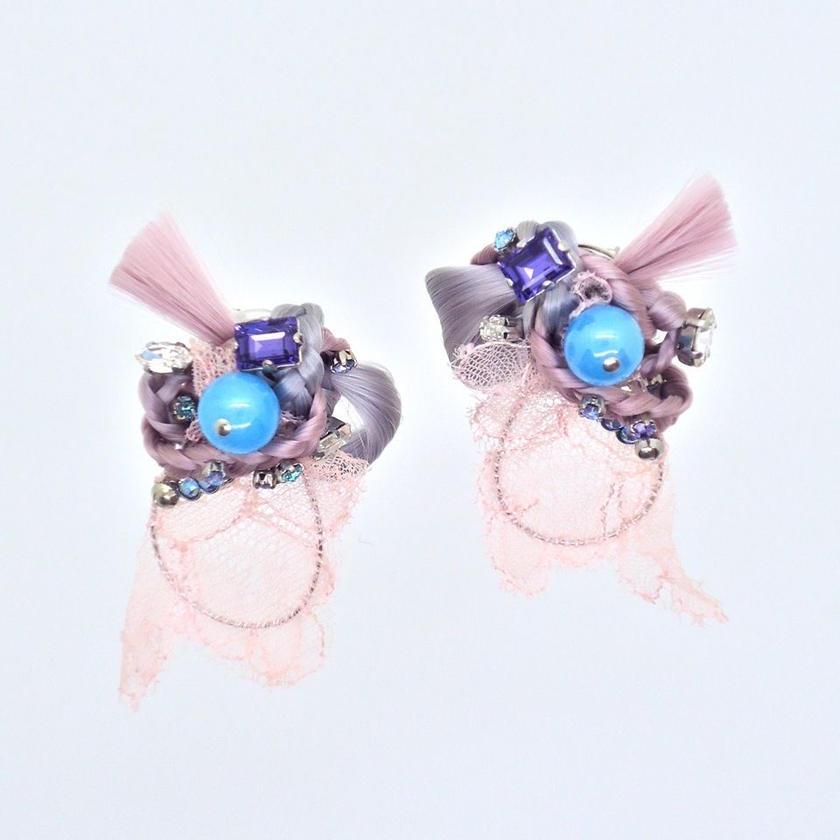 ファイバーピアス/イヤリング[淡いピンクの選択ポイント]両耳