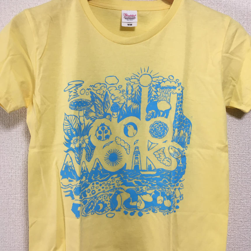 LOGO T-shirts(Light Yellow×Aqua Blue)