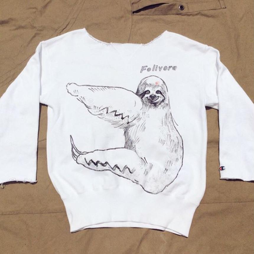 【on champion】OMA overdrawing トレーナー|sweatshirt 50 mutation length(2top)ナマケモノ|sloth