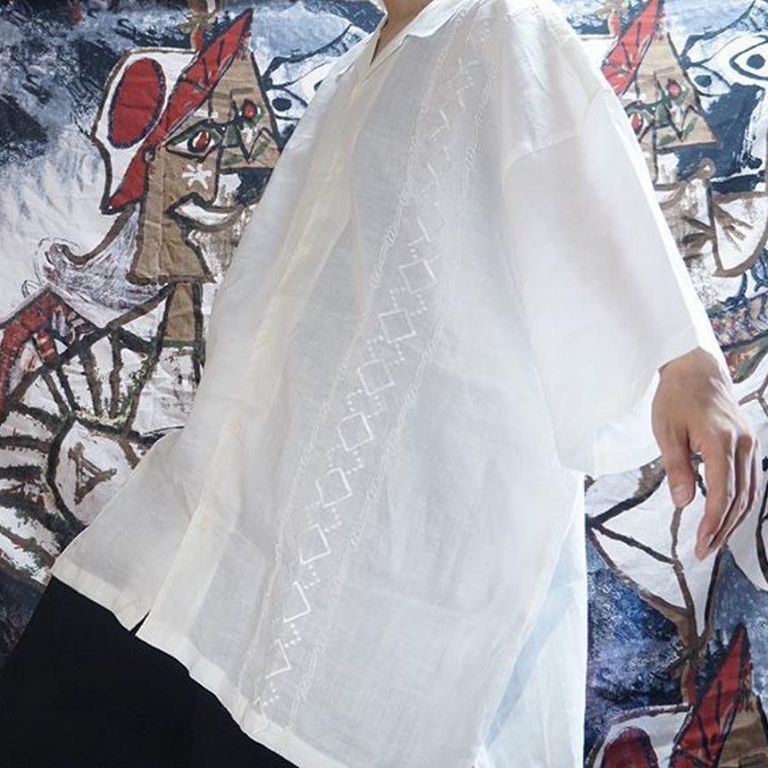 超OVERSIZEオープンカラーリネンシャツ (WHITE)