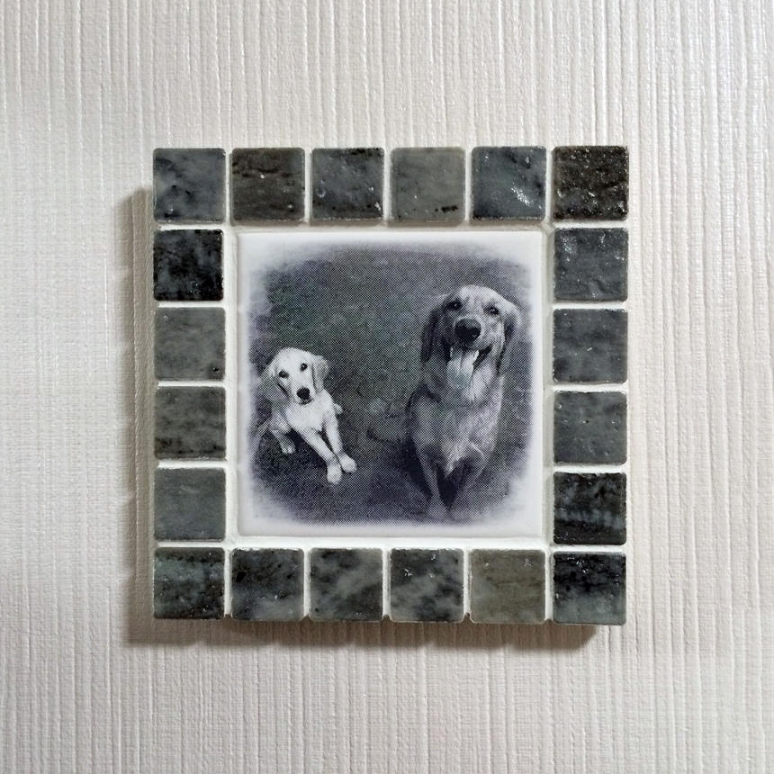 アンティークカラー/マーブルグレー(M)◆Tile Picture Frame(M)/Antique Tone/MARBLE GRAY◆