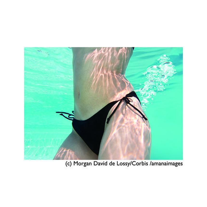 まとめ買いで【20%OFF】お得な『5枚』セット!!!      ポストカード【Midriff of Woman Wearing Bikini Underwater】