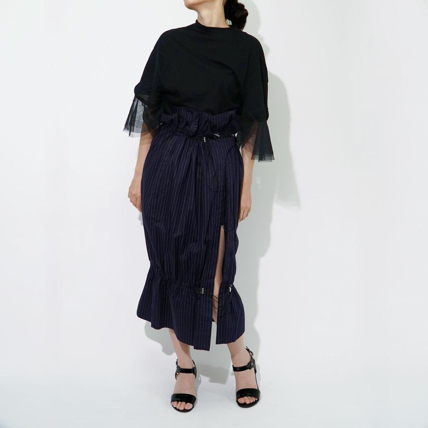Gathering Rap-around Skirt / Stripe