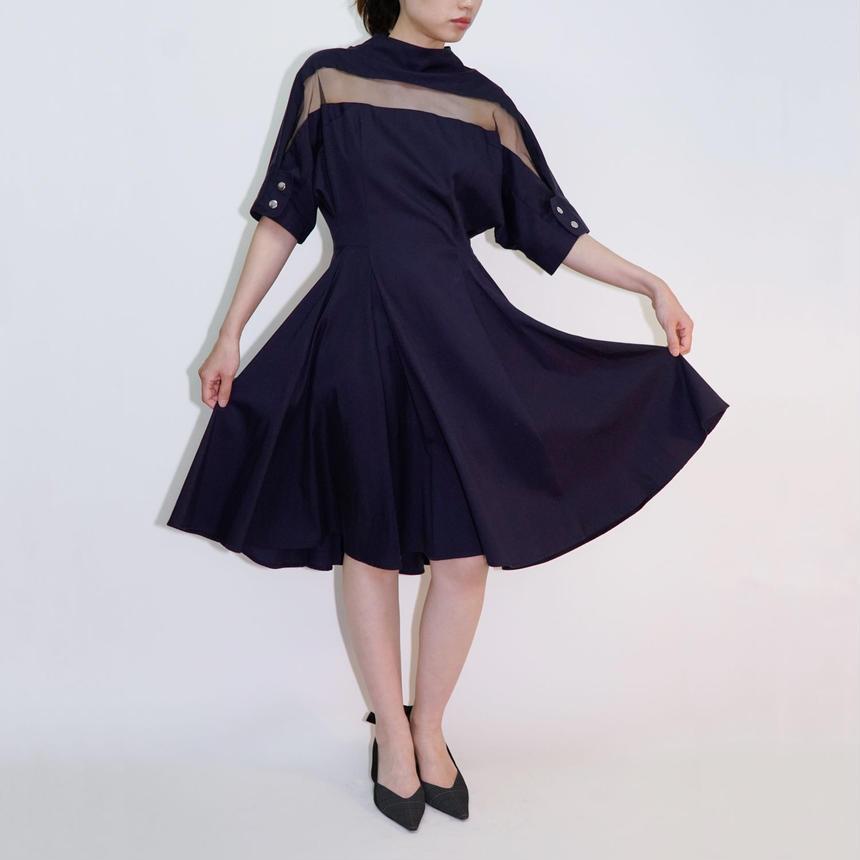 Tulle Yoke Dress / NVY