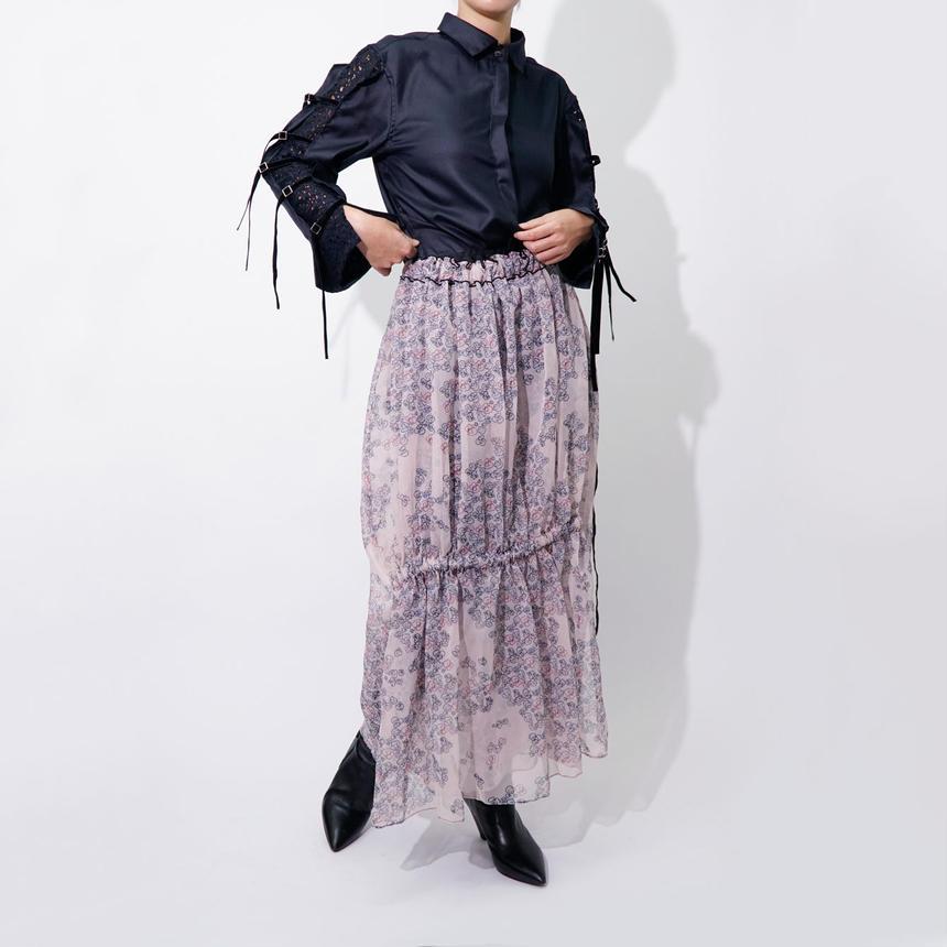 Printed See-through Skirt