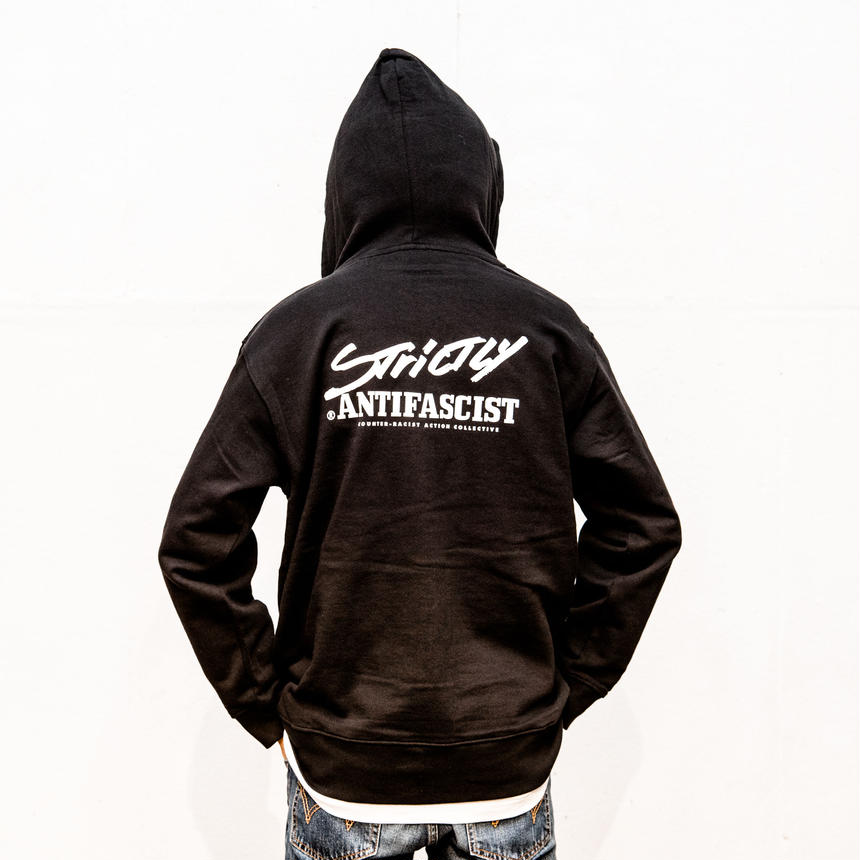 Hoodie: Strictly Antifascist (black / back printed / full zip)