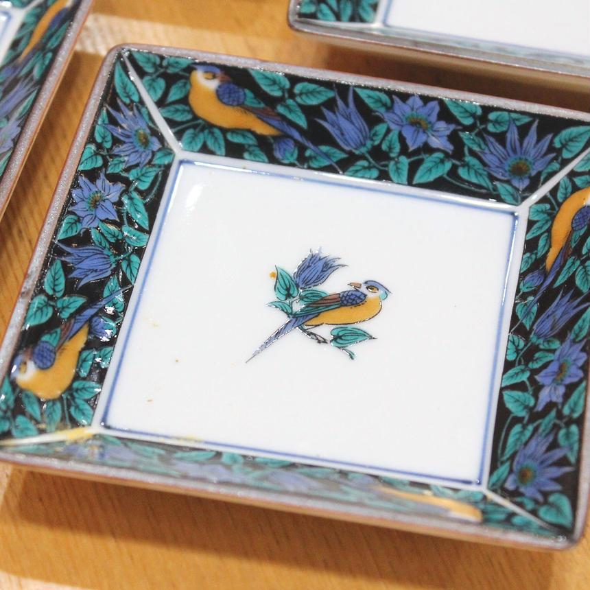 美品:【九谷・隆仙窯】小皿4枚セット