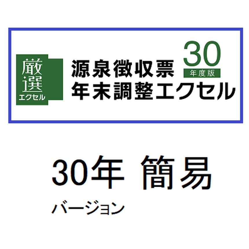 源泉徴収票・年末調整エクセル30年版 簡易バージョン ライセンス