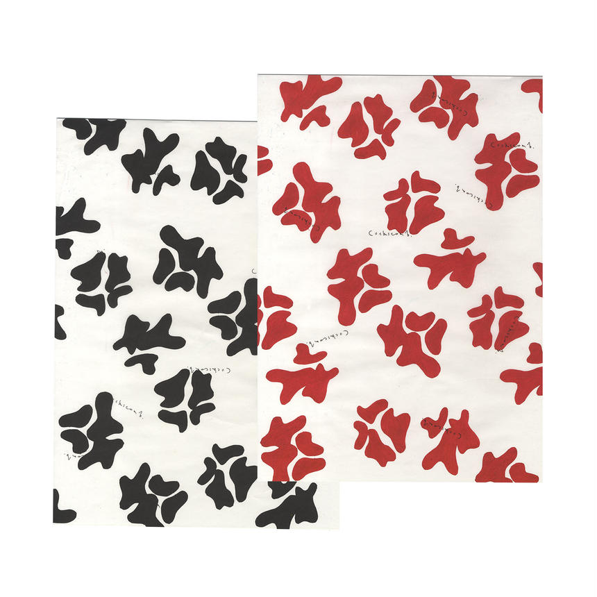 wrapping paper 10 pieces set (black 5 pieces / red 5 pieces)