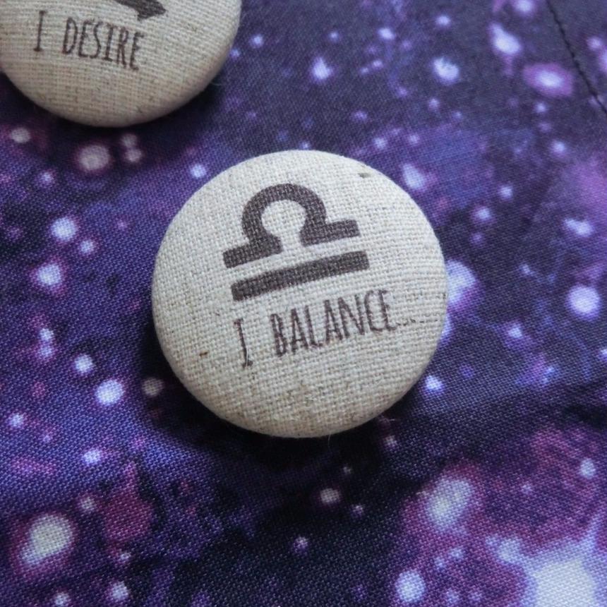 12サイン理念バッジ 30mm 天秤座 I Balance(ハンドメイド品)