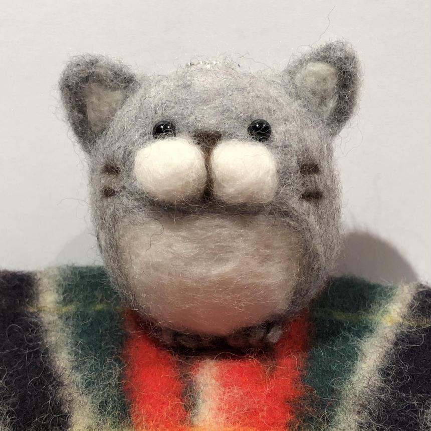 まんまる猫  キーホルダー 《グレー》