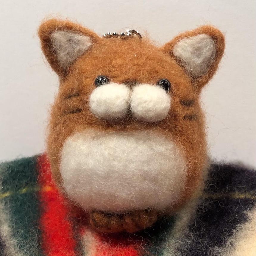 まんまる猫  キーホルダー 《アプリコットブラウン》