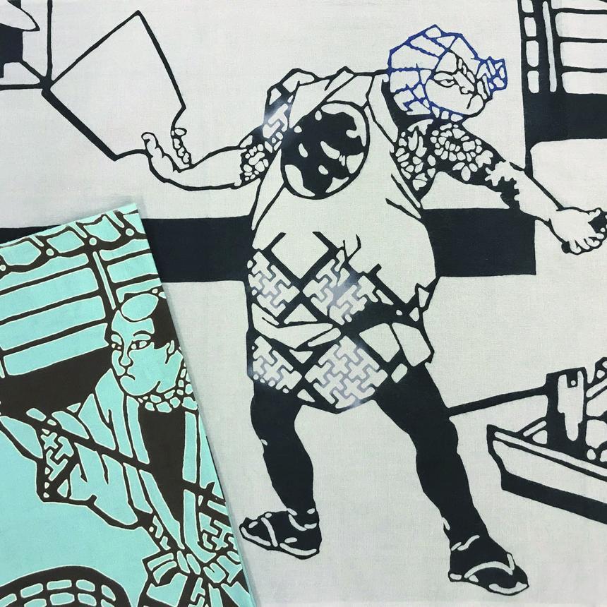 歌舞伎職人図絵「左官」手ぬぐい 利休鼠