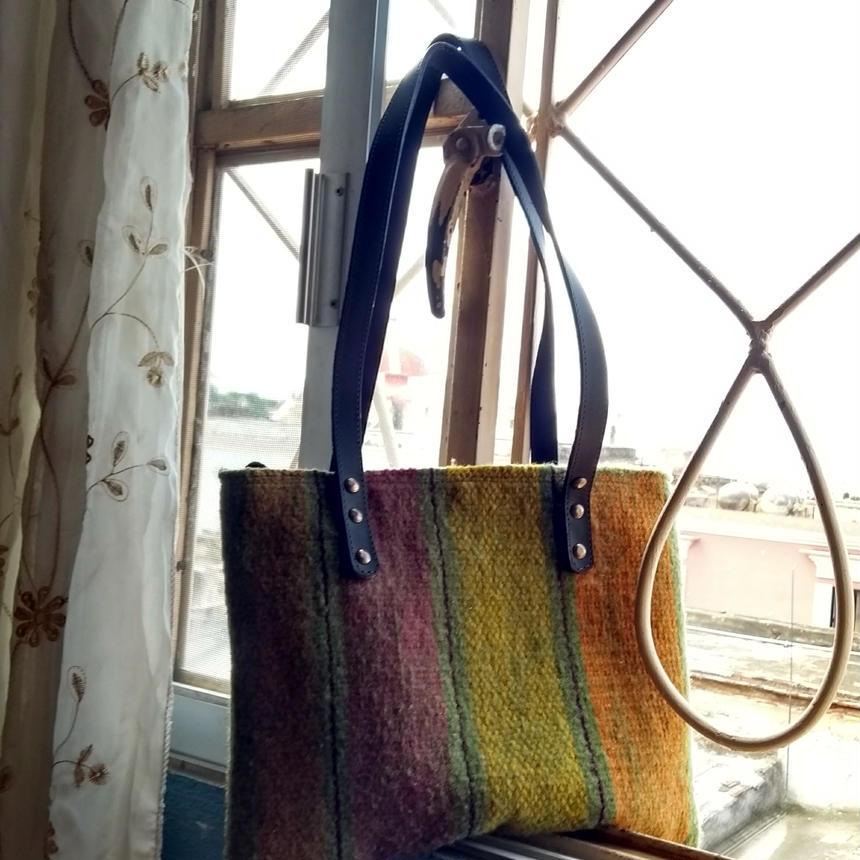 メキシコ手織りラナバッグ 中サイズ verde